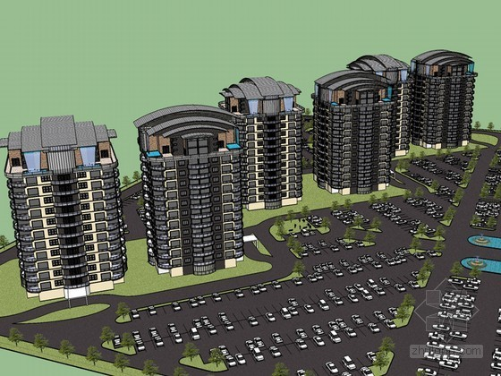 商业建筑停车场SketchUp模型下载