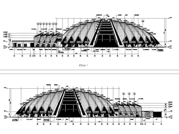 大型体育馆外帷幕系统深化设计图(金属屋面幕墙)