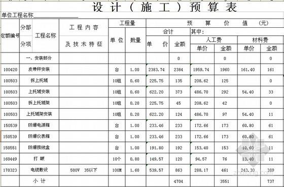 [黑龙江]煤矿主井皮带秤安装工程预算书(2014)