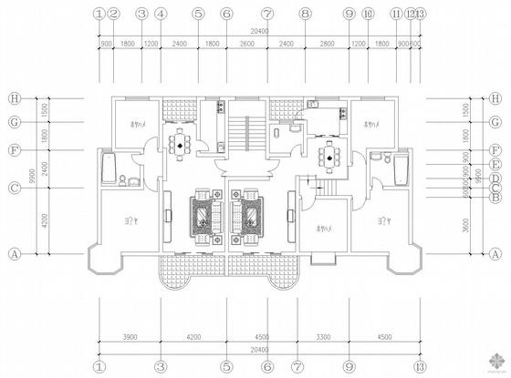 板式多层一梯二户户型图(93/116)