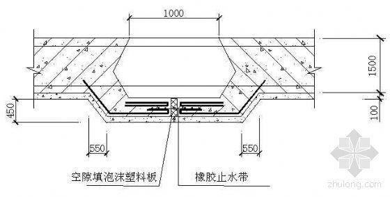 地下室底板及外墻后澆帶出底襯做法示意圖