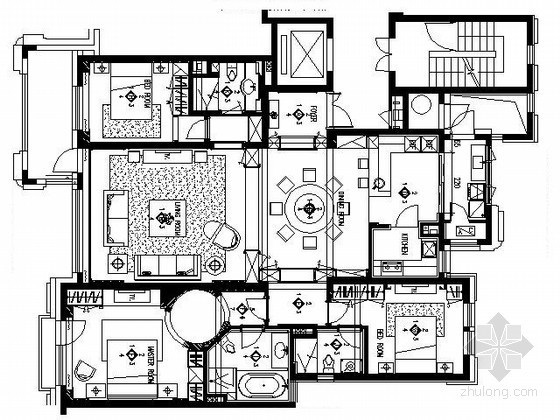 三室两厅精装样板房施工图(含实景)