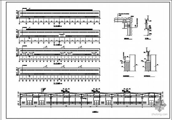 二层厂房建筑结构图资料下载-某2万平多抽柱大厂房建筑结构图