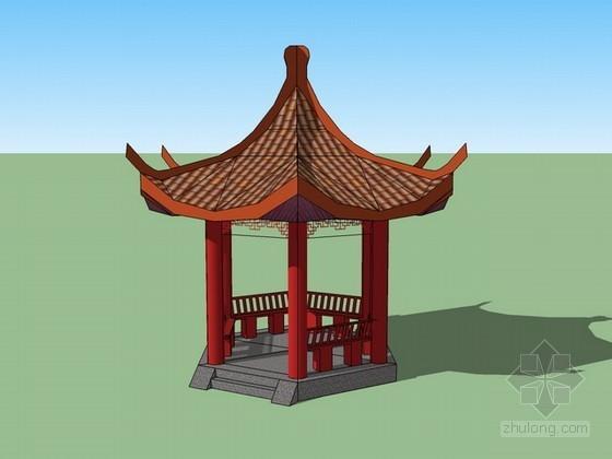 中式六角亭sketchup模型下载