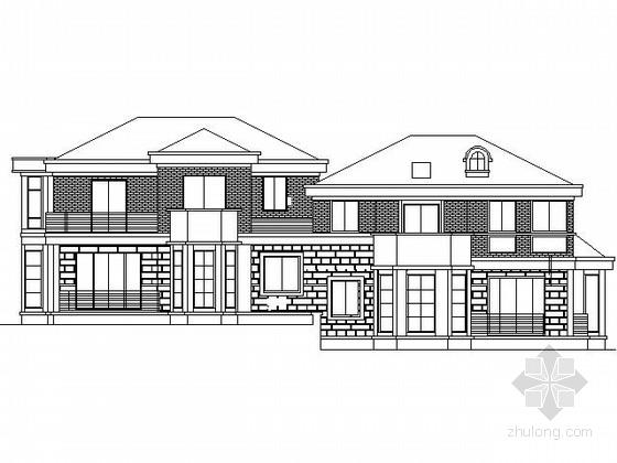 某二层北美风情双拼别墅施工图(450平米北入口)
