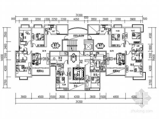 小高层一梯三住宅户型平面图(115—137平方米)