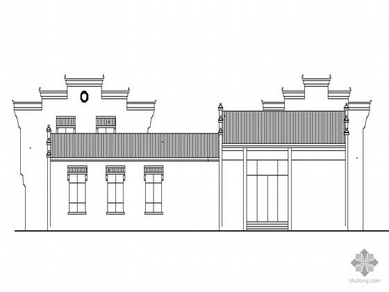 某徽派二层度假村酒店建筑方案图