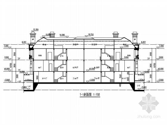 [上海]欧式风格2层会所别墅建筑设计施工图-欧式风格2层会所别墅剖面图
