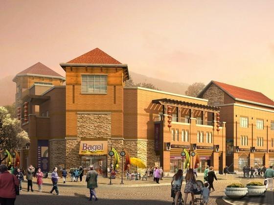 西式风情商业街建筑效果图psd素材