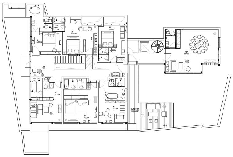 上海原招待所改造的新中式渝舍印象酒店平面图(21)