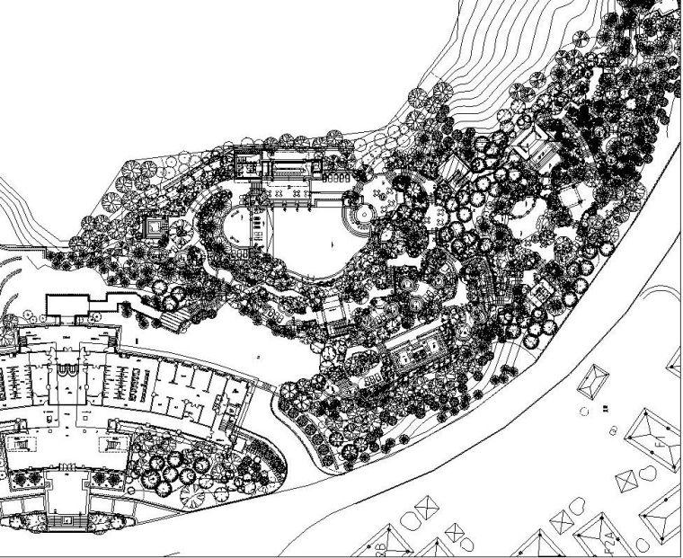 [云南]温泉度假区景观全套园景观施工图设计(植物配置)