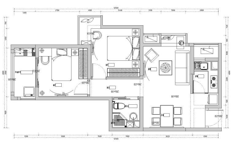 美和样板房现代风格室内施工图设计(CAD+效果图)