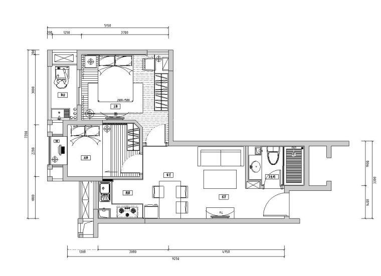 凯隆地产样板房现代风格室内施工图设计