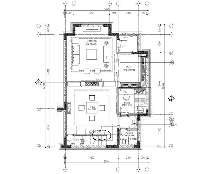 [CCD]嘉裕地产成都四居室别墅样板房室内装修施工图+设计方案+效果图(CAD、JPG、PDF)