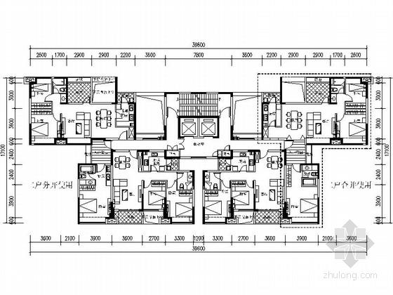 [万科户型]一核六户高层住宅户型平面图(412平方米)