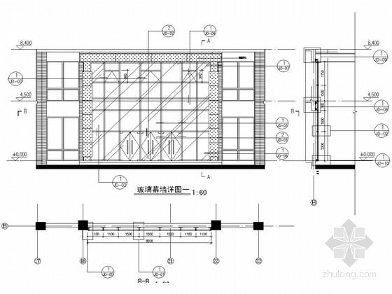 人民医院迁建工程明框玻璃幕墙施工图(玻璃雨蓬)
