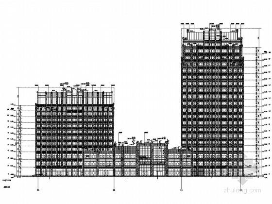 [湖北]19层框架核心筒结构四星级酒店结构图(含建筑图)