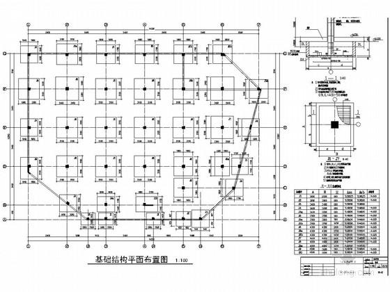 [安徽]四层框架结构精品装饰城结构施工图(不规则形状)