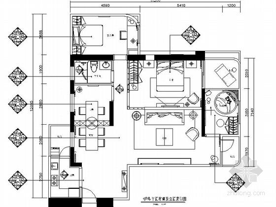 [广州]三居室典雅温馨中型室内CAD施工图