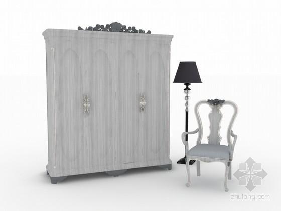 欧式衣柜椅子组合