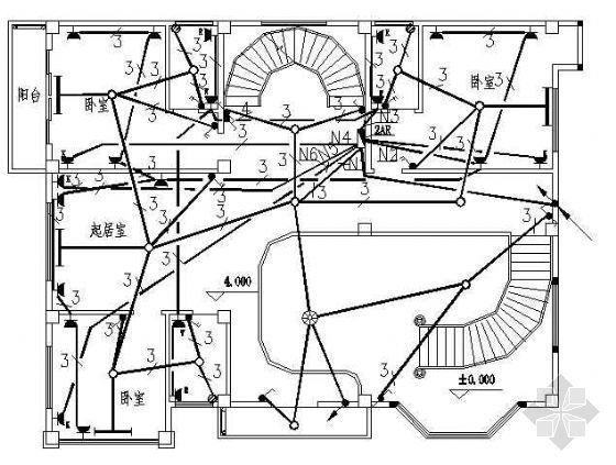 福建某三层别墅电气平面设计