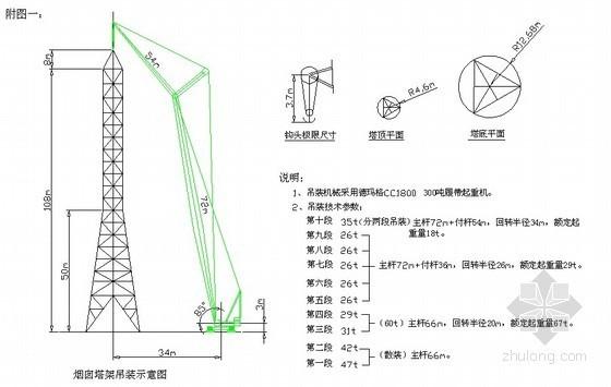 110米烟囱及支承塔架安装施工方案