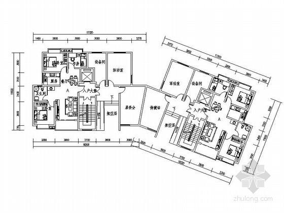 小高层住宅转角一梯二户型平面图(南梯、88平方米)