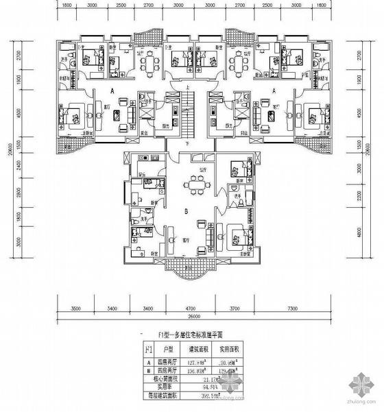 塔式高层一梯三户户型图(128/128/137)