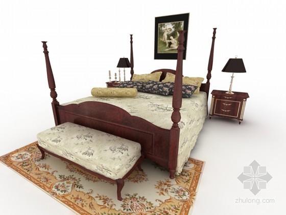 美式床组合3d模型下载