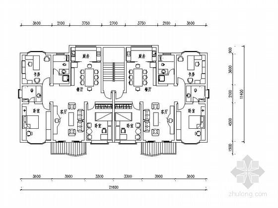 板式多层三居室户型图(124平方米)