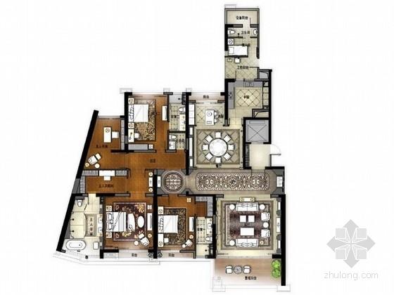 [佛山]高层住宅区奢侈欧式四居室样板间设计方案