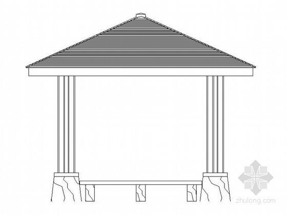 带座凳现代四角亭施工详图
