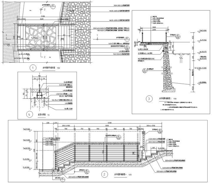 [武汉]高档居住区附属滨湖公园景观工程施工图-水中栈道详图