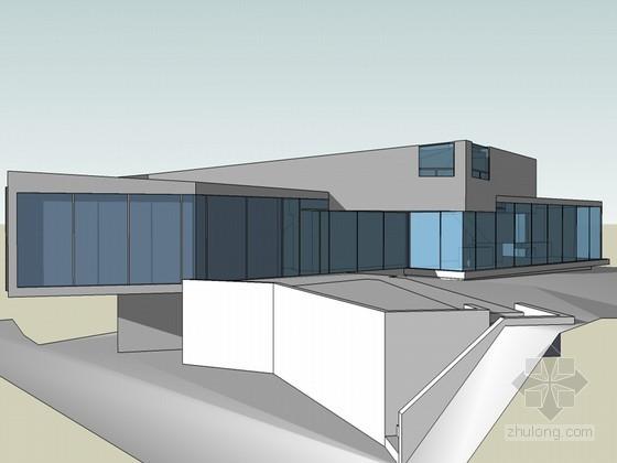 白色住宅建筑SketchUp模型下载
