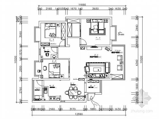 [湖南]书香之家新中式风格三居室雅居装修设计施工图(含效果)