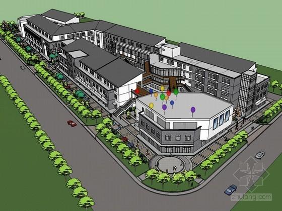 中式城市商业SketchUp模型下载