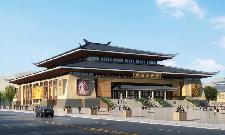 甘肃文化艺术中心场馆观众厅GRG氟碳喷涂满堂架搭设方案(四层钢框架支撑+钢砼框剪结构)
