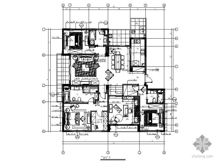[杭州]某四居新古典样板房装修图_1