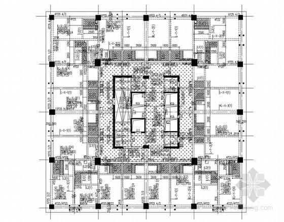 [广东]知名地产公司27层框架剪力墙结构商务写字楼及框架商铺结构图