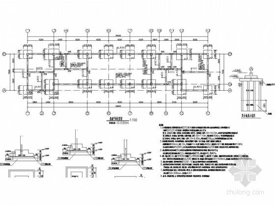 [长沙]一层框架结构加油站站房结构施工图(含建筑图钢框架罩棚)-基础平面布置图