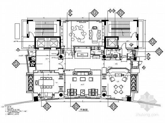 [江苏]开发区高层高档现代会所接待区室内装修施工图(含高清实景图)