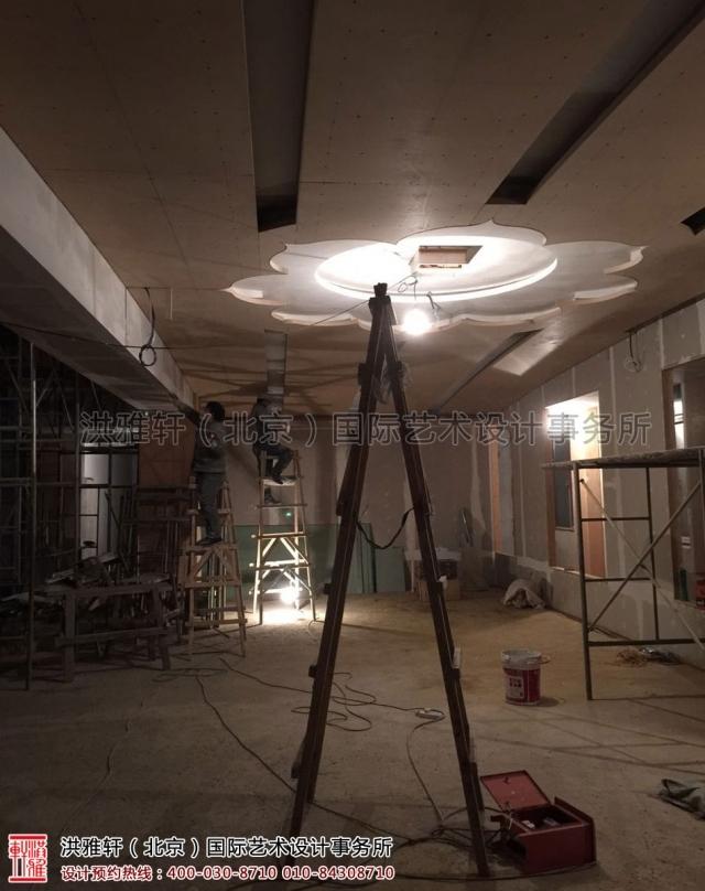 五台山普寿寺室内装修施工现场
