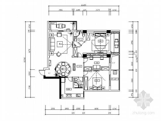 [江苏]都市后花园典雅新中式风格两居室装修施工图(含效果)