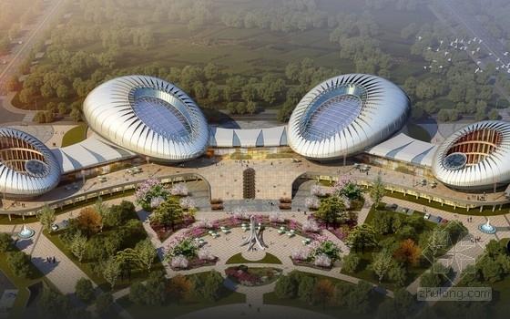 [青岛]新颖造型文体艺术中心建筑设计方案文本(四馆一体 造型  独特)