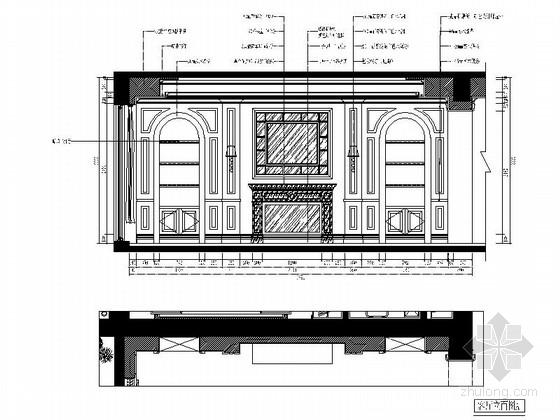 城市中心欧式风格六居室样板房装修图(含效果)客厅立面图