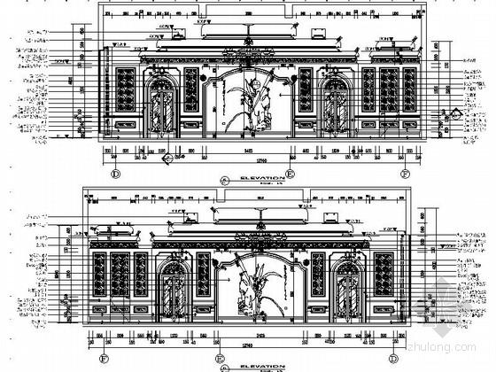 [苏州]奢华欧式风格商务会所六层董事区室内装修图(含效果) 立面
