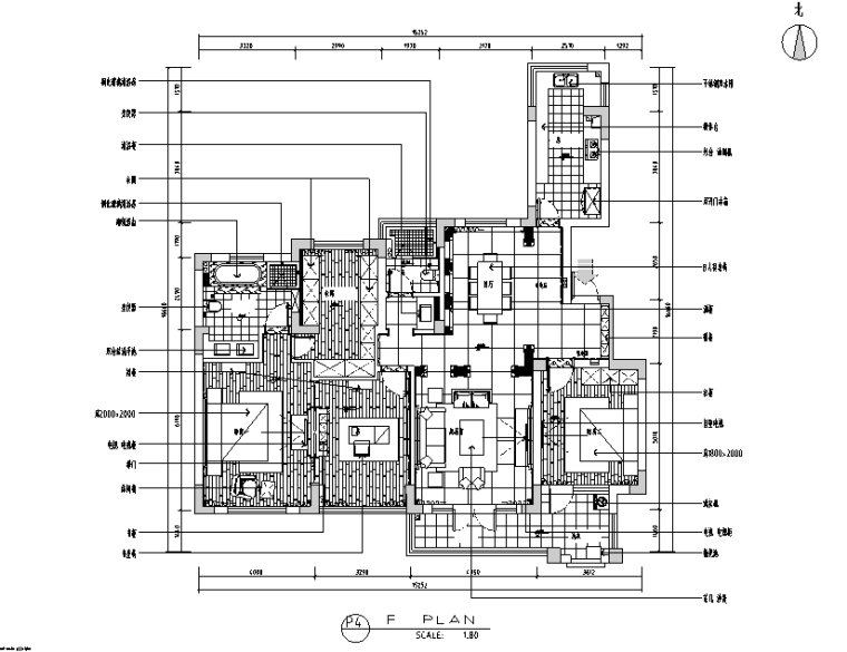 [江苏]简欧艺术流派170平米平层公寓设计施工图(附效果图)