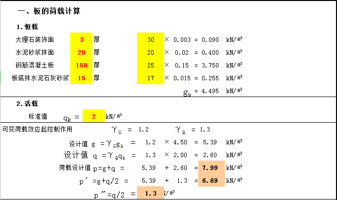 混凝土结构双向板配筋简易计算(excel)