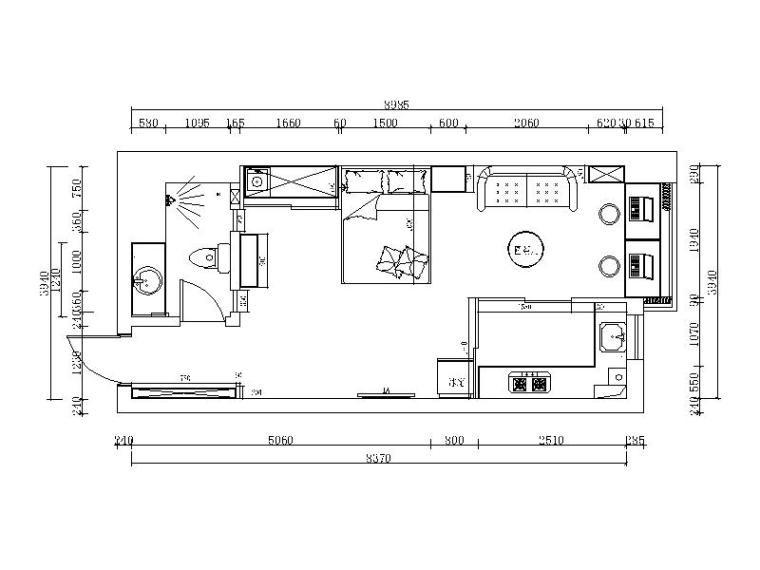 现代风格小户型单身公寓设计CAD施工图(含效果图)