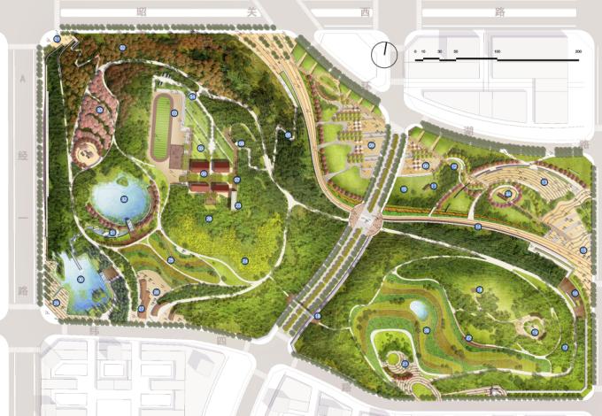 [安徽]生态人文气息流线型山体高差森林公园景观设计方案-景观总平面图